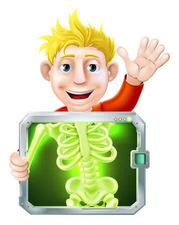 skeleton x ray: Illustration of a cartoon man or bay getting a medical x ray and waving with his hand Illustration