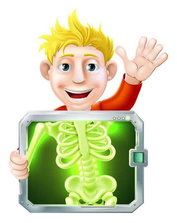 chest x ray: Illustrazione di un uomo cartone animato o di baia ottenere una radiografia medica e agitando con la mano