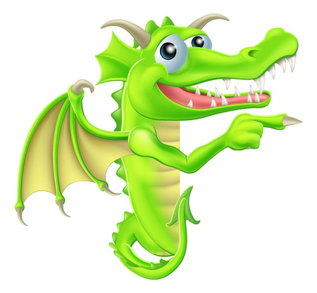 fairy story: A drawing of a  cartoon dragon mascot peeking round a sign and pointing Illustration