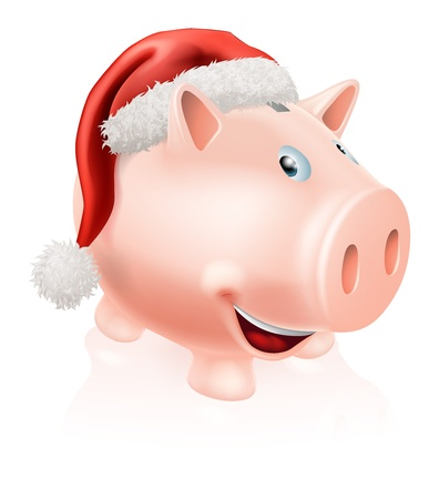 christmas savings: Illustration of a happy Christmas savings piggy bank with Santa hat on  Concept for saving money for Christmas or Christmas savings club