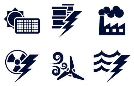 발전기: 전력 및 에너지 생성 유형 태양, 화석 연료, 원자력, 풍력, 수력 또는 물 플러스 오일을 대표하는 여섯 아이콘 설정 아이콘 일러스트