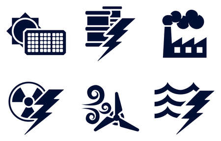 An icon set with six icons representing power and energy generation types  Solar, fossil fuel, nuclear, wind, hydro or water plus oil Vector