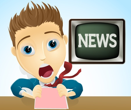 bad news: An illustration of a cartoon shocked TV news presenter
