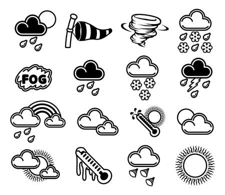 forecasts: A set of monochrome weather icons like those used in forecasts Illustration