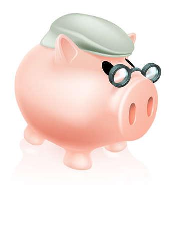 pensioen: Pensioen varken spaarpot begrip aa besparingen spaarpot spaarpot gekleed in hogere's hoed en specs.