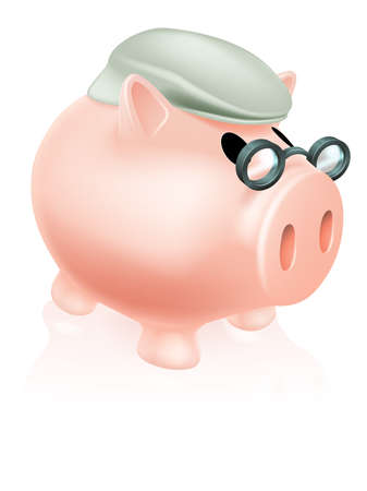 Pension pig money box concept of a a savings piggy bank money box dressed in senior's hat and specs. Stock Vector - 19838281