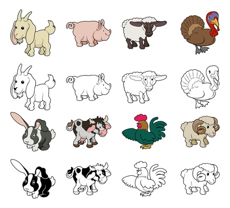 A set of cartoon farm animal illustrations. Color and black an white outline versions. Illustration