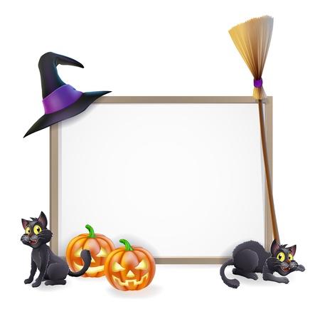 heks: Halloween teken met heksen hoed, Halloween pompoen, heksen zwarte kat en bezem stok en leeg teken voor uw tekst