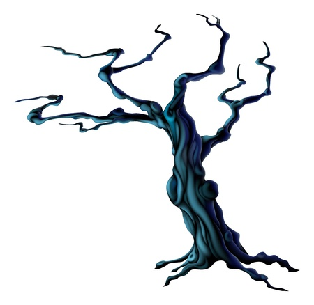 An illustration of a spooky scary Halloween tree Vector