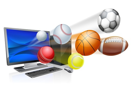 socer: Sports computer app concept, an illustration of a pc computer with sports balls flying out of the screen
