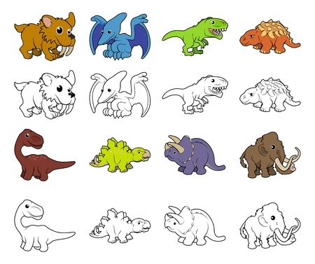 A set of cartoon prehistoric animal and dinosaur illustrations. Color and black an white outline versions. Vector