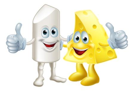negotiations: Tiza y queso amigos ilustraci�n. Los opuestos atraer, subir o complementando entre s�. Podr�a referirse a la integraci�n o al final de las negociaciones o bipartidismo �xito. Desde el dicho: como la tiza y el queso, es decir opuestos. Vectores