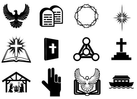 corona de espinas: Conjunto de iconos religiosos cristianos, signos y símbolos Vectores