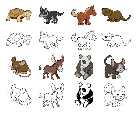A set of cartoon animal illustrations  Color and black an white outline versions  Vector