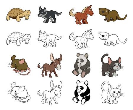 rata caricatura: Un conjunto de dibujos de animales ilustraciones de color y negro Un versiones de los perfiles blancos Vectores