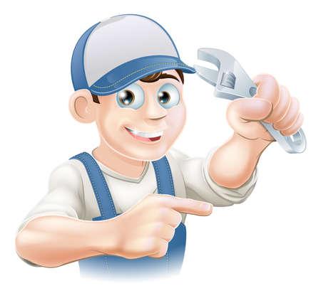loodgieterswerk: Een illustratie van een cartoon monteur of loodgieter met een verstelbare sleutel of dopsleutel Stock Illustratie