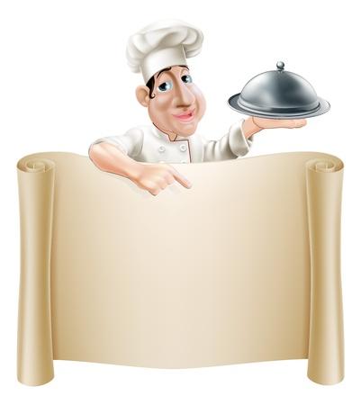 chef caricatura: Un cocinero feliz de la historieta que sostiene una bandeja de plata o cloche apuntando a una bandera o en el men�
