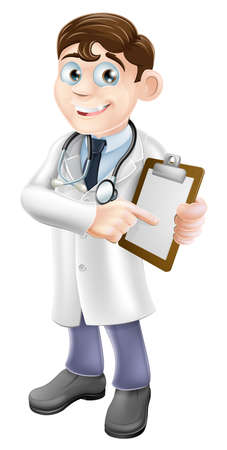 An illustration of a friendly cartoon doctor holding a clipboard and pointing at it Vector
