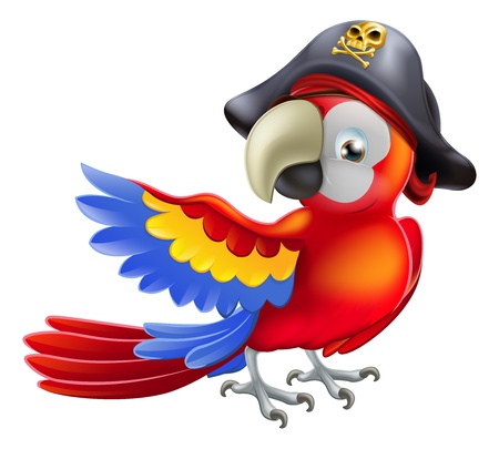 macaw parrot: A red parrot cartoon wearing a pirates hat and eye patch and pointing with his or her wing