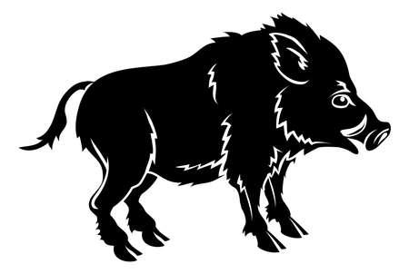 An illustration of a stylised boar perhaps a boar tattoo