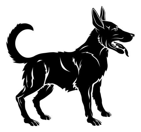 An illustration of a stylised dog perhaps a dog tattoo Vector