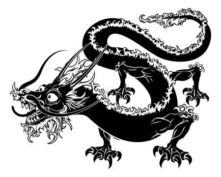 black and white dragon: An illustration of a stylised Chinese oriental dragon perhaps a dragon tattoo