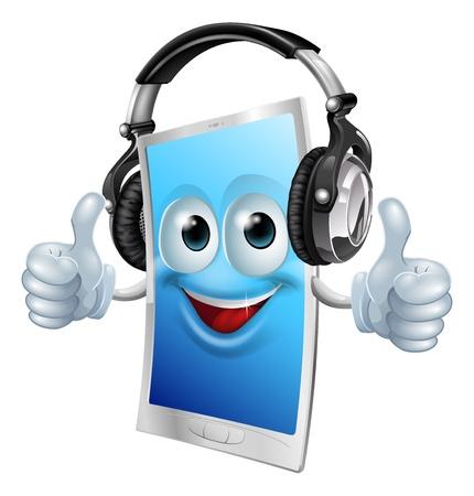 ear phones: A drawing of a cartoon smiling headphones phone man Illustration