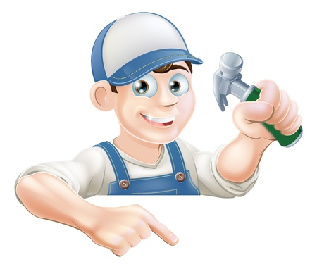 выглядывал: Плотника мультфильма или строительства парень с молотком выглядывает на знак или баннер и указывая на него