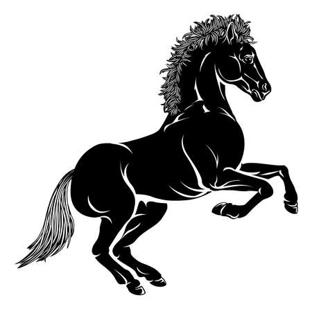 rampant: An illustration of a stylised horse perhaps a horse tattoo Illustration