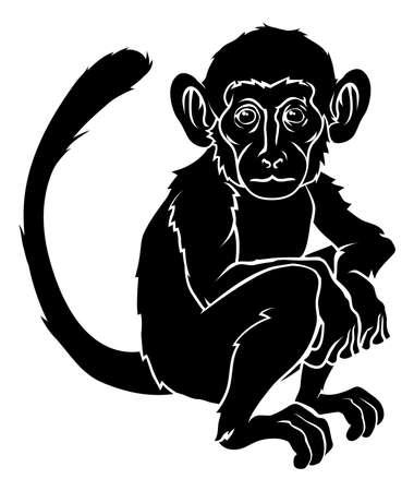 silueta mono: Una ilustraci�n de un mono estilizada quiz�s un tatuaje de mono