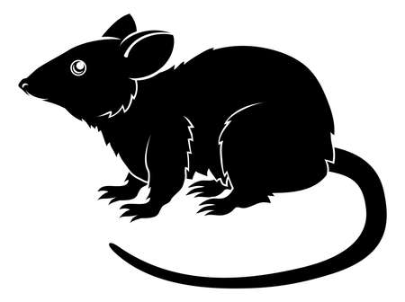 An illustration of a stylised rat perhaps a rat tattoo Ilustrace