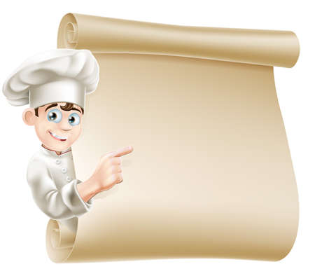 letrero: Ilustración de un carácter alegre cocinero que apunta a un desplazamiento tal vez con un menú en el que Vectores