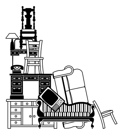 sofa furniture: An illustration of a stack of furniture and other household goods. Could be used for house clearance or moving themes or home insurance related.
