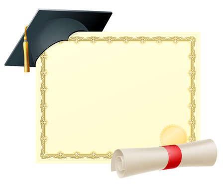 laurea: Certificato con copia-spazio e scorrere diploma e malta di laurea cappuccio bordo Vettoriali