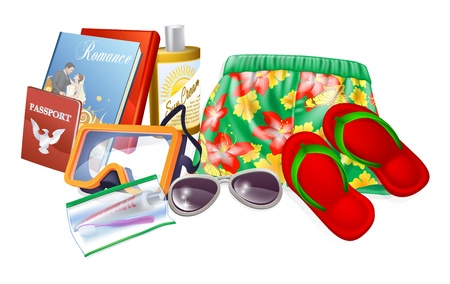 reading material: Holiday essentials illustrations. Important thing to pack for a summer holiday, vacation or trip. Includes sun cream, sunglasses, reading material, toiletries, sandals and passport