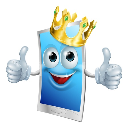 aplication: Illustration of a mobile phone king character wearing a gold crown and giving a double thumbs up Illustration