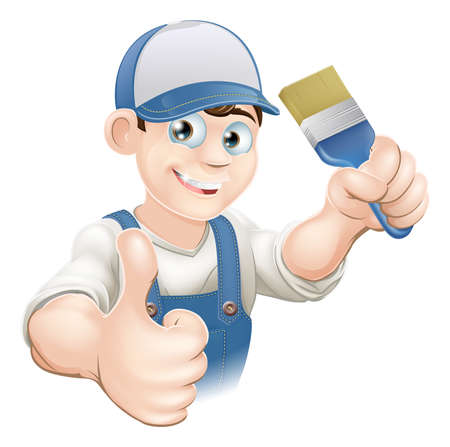 tradesperson: Illustration of a cartoon painter or decorator holding a paintbrush and giving a thumbs up
