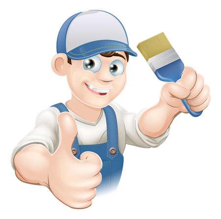 handy man: Illustrazione di un cartone animato o di pittore decoratore in possesso di un pennello e dando un pollice in alto Vettoriali