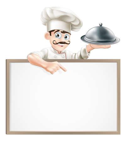 cloche: Een cartoon chef karakter houden een zilveren blaadje of cloche wijzend op teken