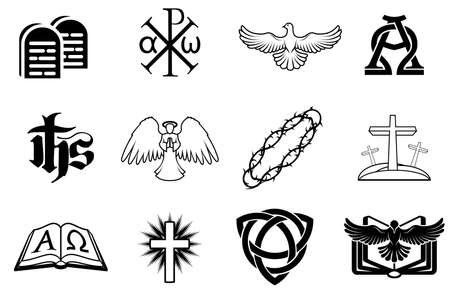 A set of Christian icons including angel, dove, alpha omega, Chi Ro and many more Illustration
