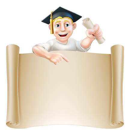 students college: Cartoon man in moratar board holding a certificate, diploma or other qualification, peeping over a scroll and pointing down