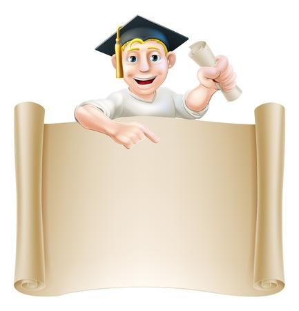 colleges: Hombre de la historieta en el tablero moratar titular de un certificado, diploma o t�tulo, que mira furtivamente sobre un pergamino y hacia abajo