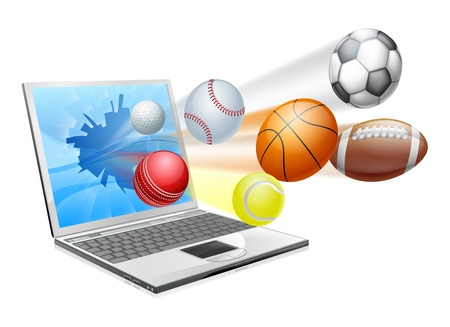 socer: Sports laptop app concept, an illustration of a laptop computer with sports balls flying out of the screen