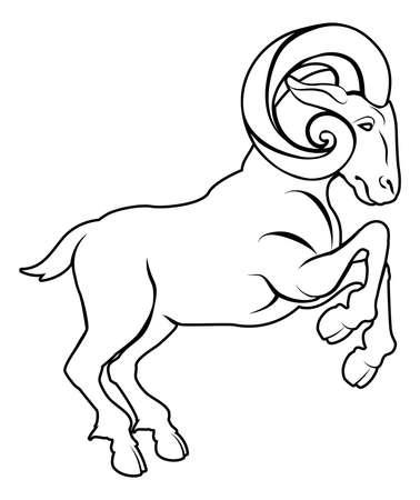 aries: Una ilustraci?n de un carnero u oveja estilizada negro tal vez un tatuaje ram Vectores