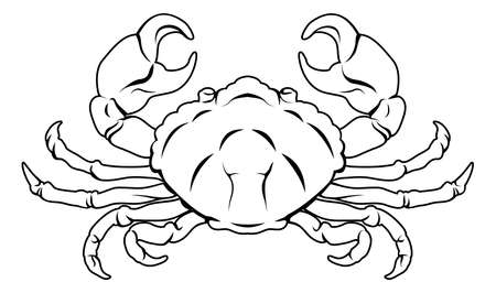 birth sign: An illustration of a stylised black crab perhaps a crab tattoo Illustration