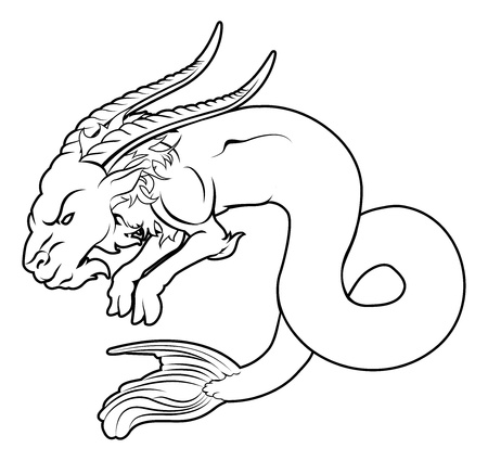 starsign: An illustration of a stylised black sea goat perhaps a sea goat tattoo