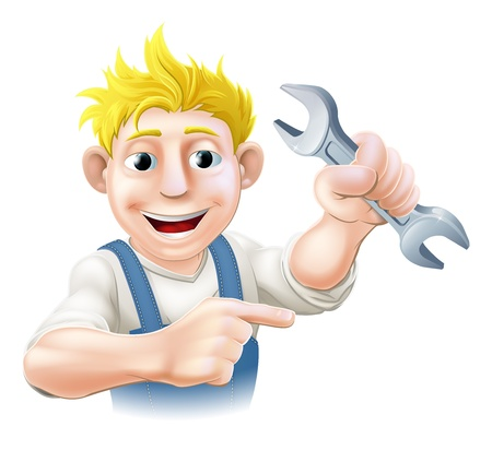 An illustration of a cartoon mechanic or plumber with a wrench or spanner Vector