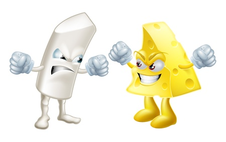 Chalk and cheese fighting concept. Opposites or dissimilar types not getting on, from the saying: like chalk and cheese, meaning very different.  Could also be to do with partisanship or tribalism  Vector