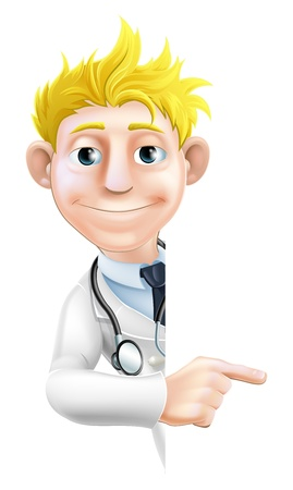 An illustration of a friendly cartoon doctor peeking round pointing at a sign or banner Stock Vector - 20220310