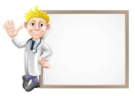 hospital dibujo animado: Un médico de dibujos animados apoyada en un gran cartel o banner con espacio para el texto Vectores